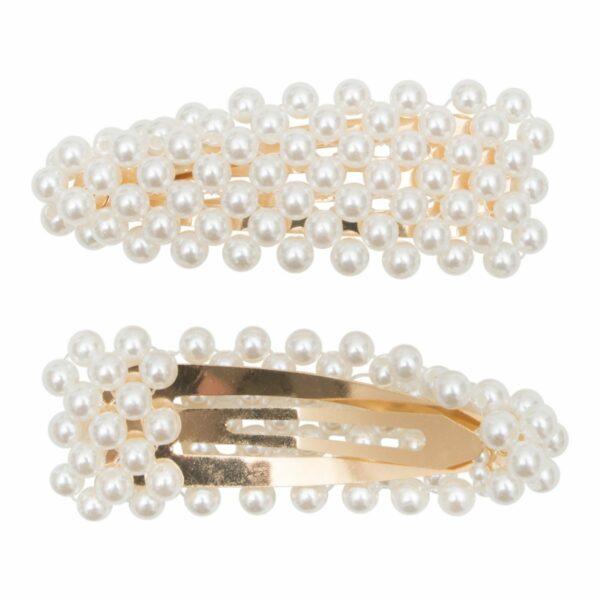 Lea Gold Pearl Clips | Hårspænde Lea Perle - Gold - 9 cm.