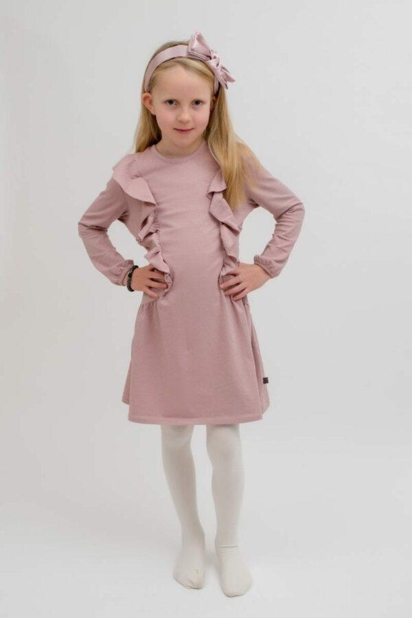 Malle rosa kjole | AW19 Audrey flæsekjole i Apple Butter med glitter