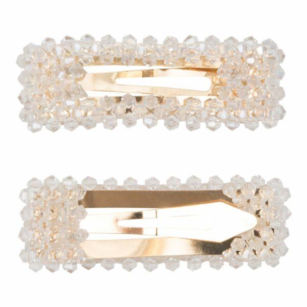 Malou Clear Gold | Hårspænde Malou med klare glitter perler - Gold - 9 cm.