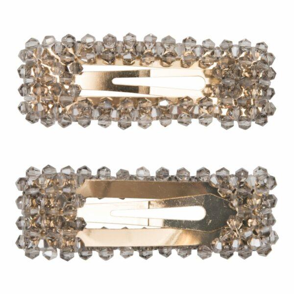 Malou Grey Gold | Malou hårspænde med grå glitter perler - Gold - 9 cm.
