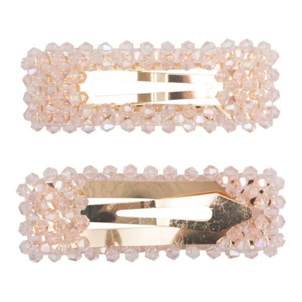 Malou Rosa 1 | Hårspænde Malou rosa glitter  - Gold - 9 cm.