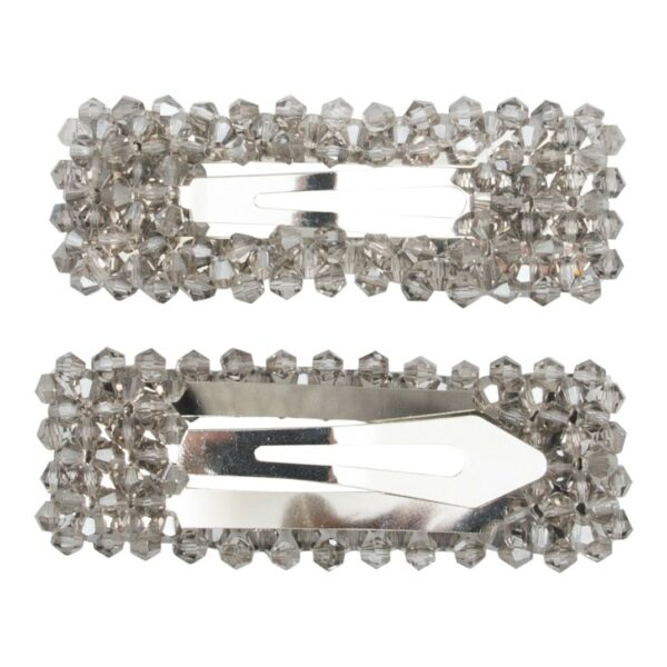 Malou Silver Grey | Malou hårspænde med grå glitter perler - Silver - 9 cm.