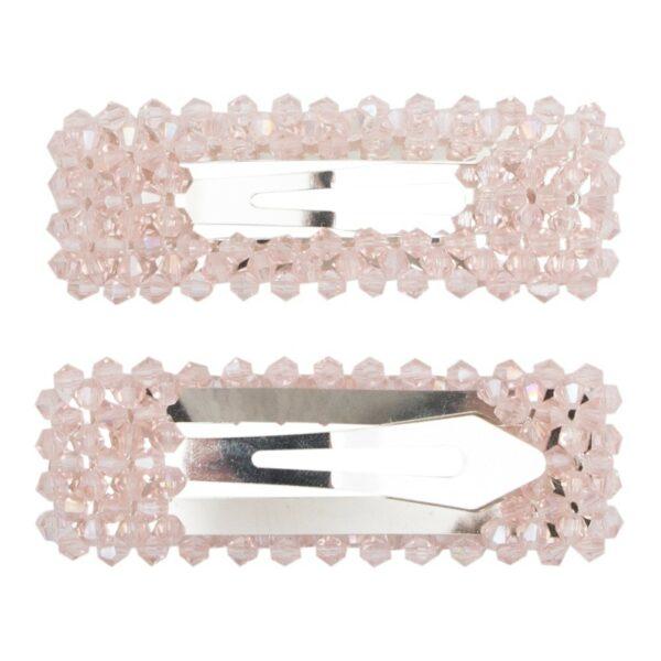 Malou Silver Rosa 2 | Hårspænde Malou rosa glitter - Silver - 9 cm.