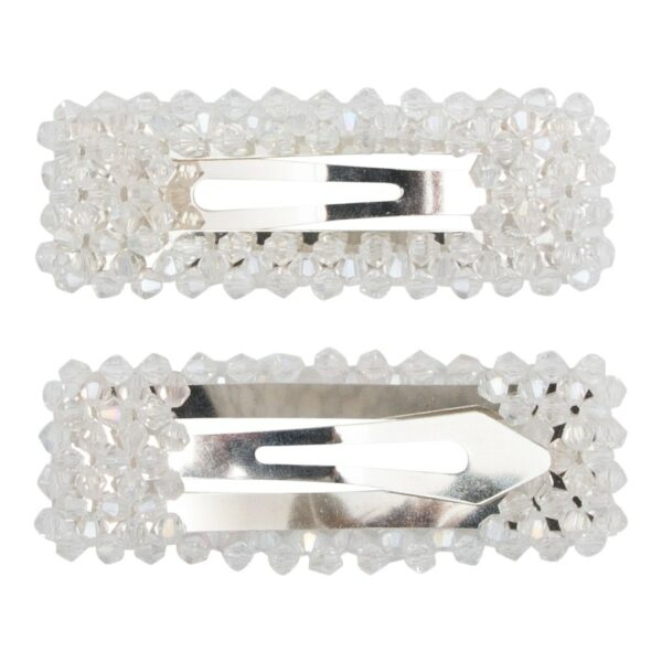 Malou Silver clear | Hårspænde Malou med klare glitter perler - Silver - 9 cm.