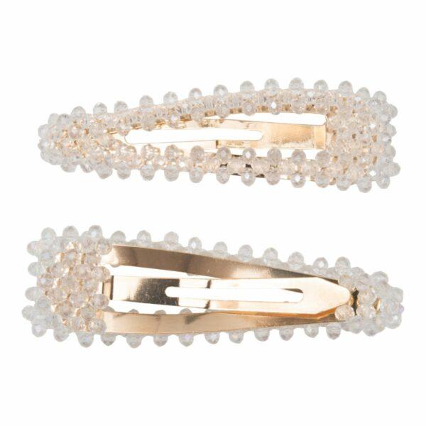 Maya Clear Glitter | Hårspænde Maya med klare glitter perler - Gold - 9 cm.