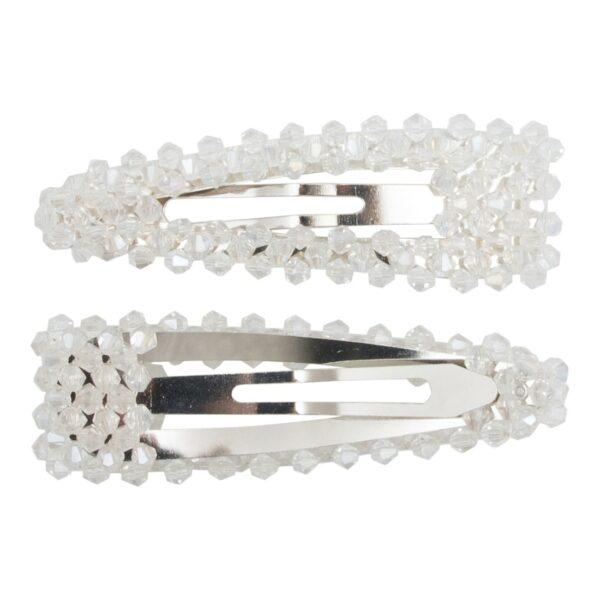 Maya Silver clear | Hårspænde Maya  med klare glitter perler - Silver - 9 cm.