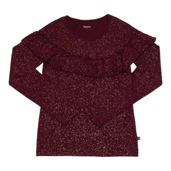 Mom blouse bordoux glitter | Langærmet MOR flæsebluse med Bordeaux glitterprint