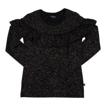 Langærmet MOR flæsebluse i sort med glitterprint