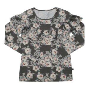 Langærmet MOR flæsebluse med Grey Flowerprint