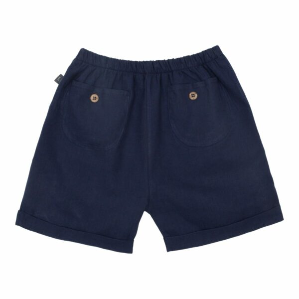 Navy Bloomers 110 116 back | Navy blå Bertram hør shorts til drenge