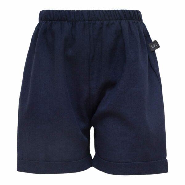 Navy Bloomers 110 116 front | Navy blå Bertram hør shorts til drenge