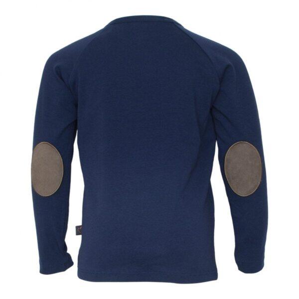 Navy boys Tshirt front | Navy blå bluse til drenge med albue lapper