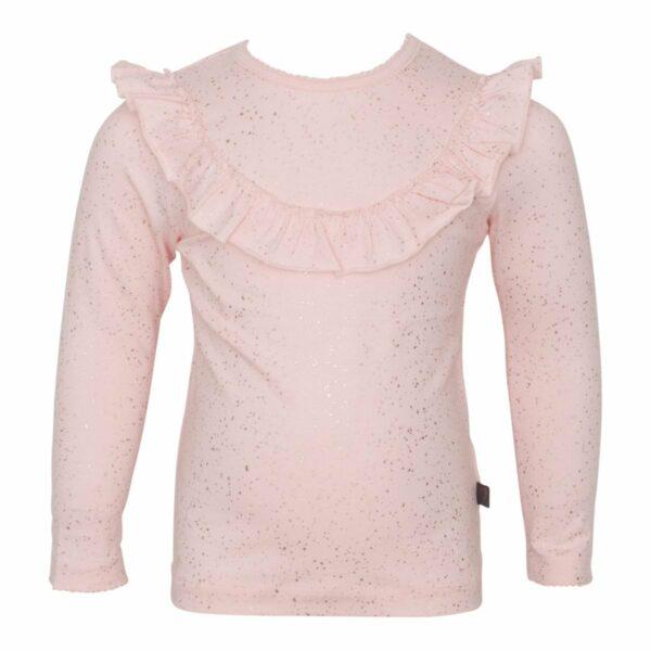 Nude frill blouse with glitterprint | Nude langærmet flæsebluse med glimmerprint