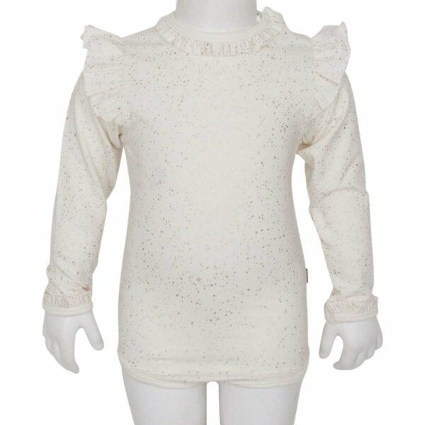 Off white glitter body with wings   BA Off white glimmerbody til piger med vinger og flæsekanter