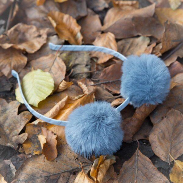 Pompom headband GR   Nora - Hårbøjle med faux fur pompom rosa