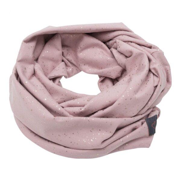 Tube scarf Dusty Rose glitter | Støvet rosa tube tørklæde med glimmerprint til børn