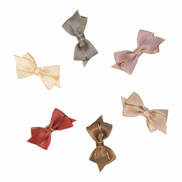 Viola Gold edge silk | VIOLA - Lille smuk 6 cm. satin sløjfe med guld kant