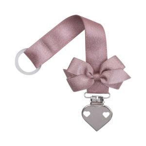 Støvet rosa glitter suttesnor med sløjfe og hjerte