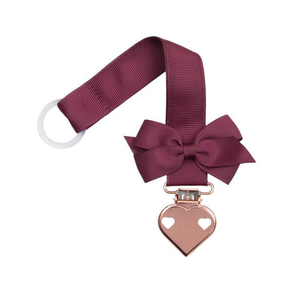 Bordeaux suttesnor med lille sløjfe og hjerte clips