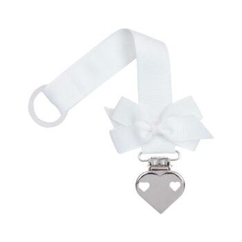 Hvid suttesnor med lille sløjfe og hjerte