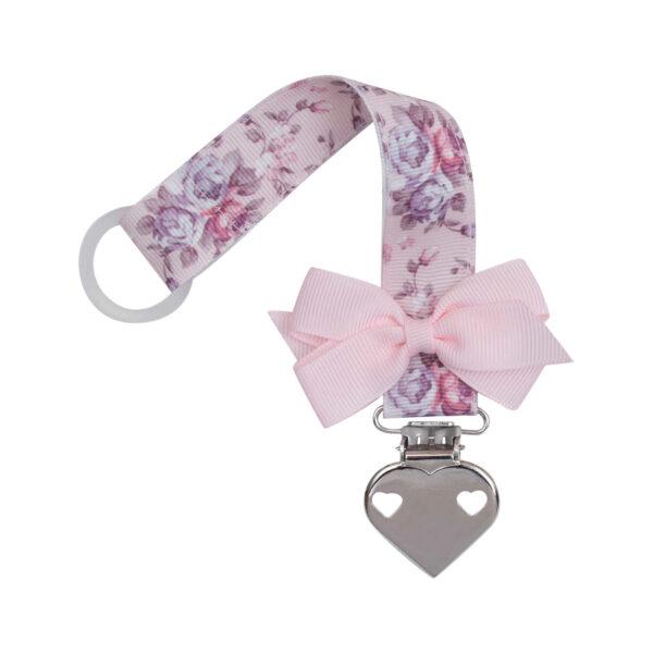 Blomstret suttesnor med lille lyserød sløjfe og hjerte