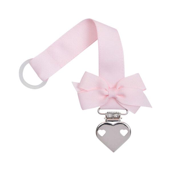 Lyserød suttesnor med lille sløjfe og hjerte clips