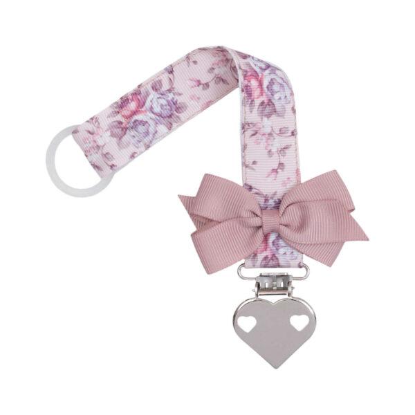 Blomstret suttesnor med lille rosa sløjfe og hjerte