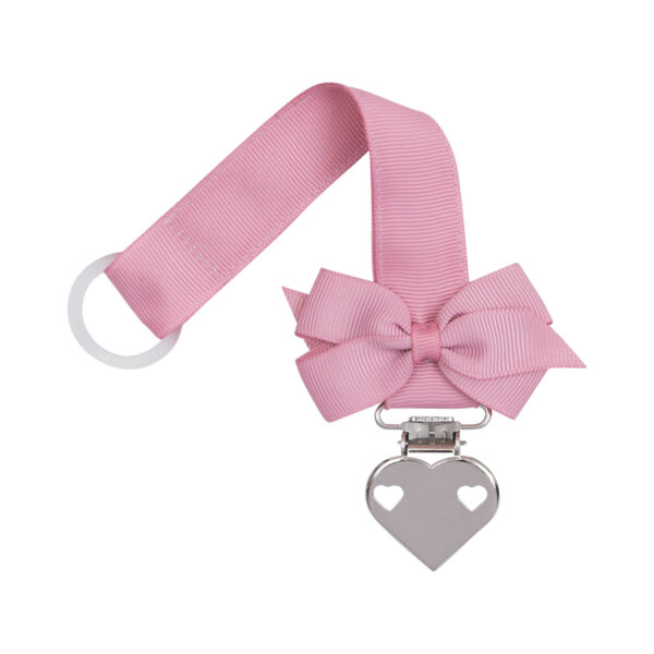 Quartz rosa suttesnor med lille sløjfe og hjerte