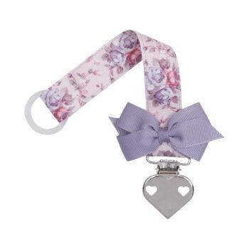 Blomstret suttesnor med lille lilla sløjfe og hjerte