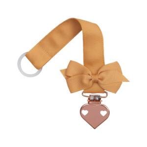 Karry suttesnor med lille sløjfe og hjerte clips