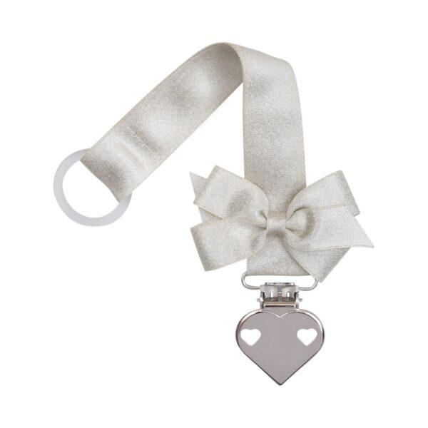 Creme glitter suttesnor med sløjfe og hjerte clips