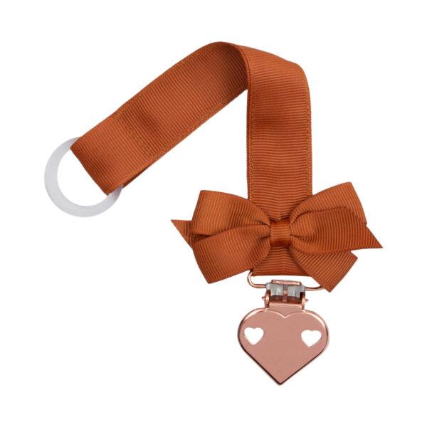 Kobber farvet suttesnor med lille sløjfe og hjerte clips