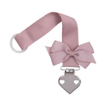 Støvet rosa suttesnor med lille sløjfe og hjerte