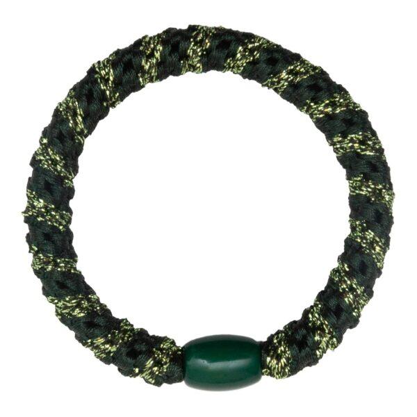 CR1 7558 | Grøn LW hårelastik med glitter striber