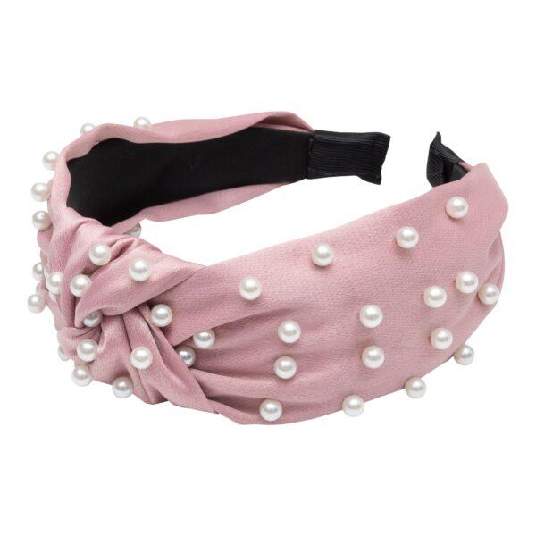 CR1 7620 | Bred rosa hårbøjle med perler