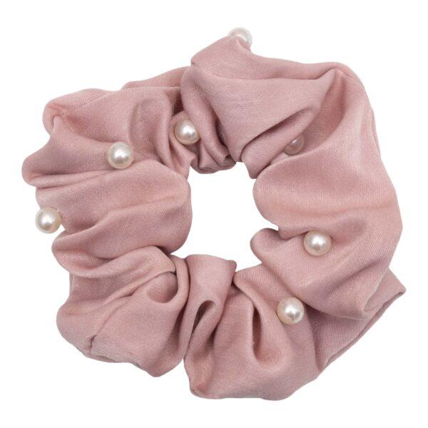 CR1 7623 1 | Satin Rosa Scrunchie med perler