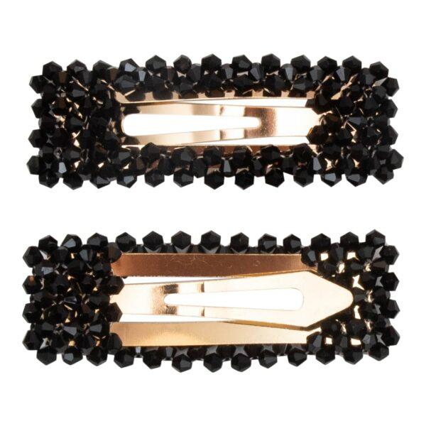 CR1 7639 | Hårspænde Malou med sorte glitter perler - Guld - 9 cm.
