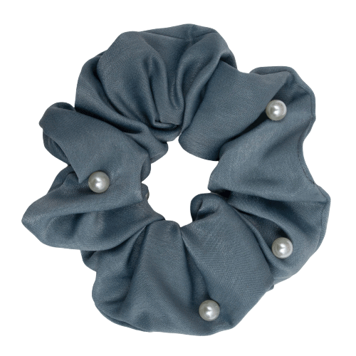 CR1 7873 removebg preview removebg preview | Satin gråblå Scrunchie i kraftig med perler