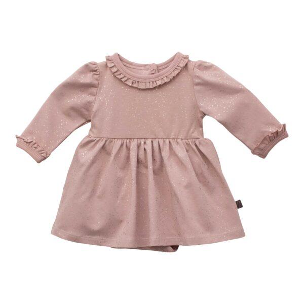 CR1 8248 Edit | Eloise støvet rosa glitter bodykjole med flæse