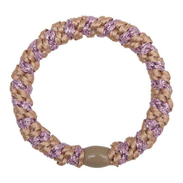 Elastic   Rosa kraftig LW hårelastik med lilla glitter stribe