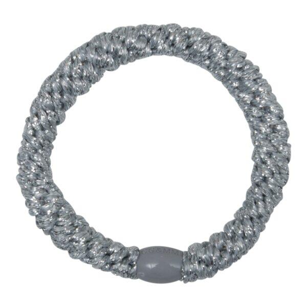 Kknekki Silver | Sølv kraftig LW glitter hårelastik