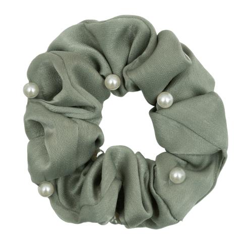 Satin støvet grøn Scrunchie med perler