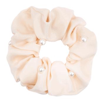 Satin Antique hvid Scrunchie med perler