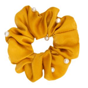 Satin karry Scrunchie med perler