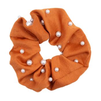 Satin kobber Scrunchie med perler