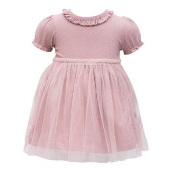 Støvet rosa Bridgit kortærmet kjole med tyl