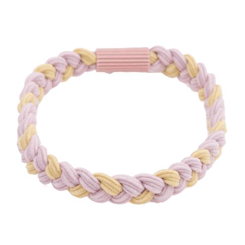Flettet hårelastik i rosa og gul