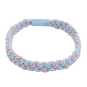 Flettet hårelastik i rosa og lyseblå