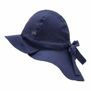 Navy blå sommerhat til drenge med skygge