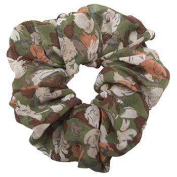 Armygrøn blomstret scrunchie chiffon